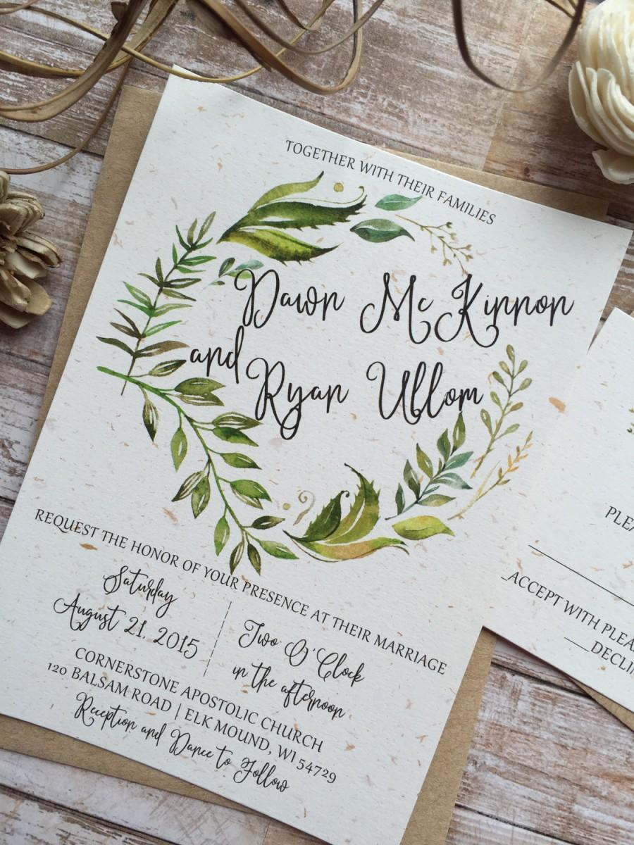 Hochzeit - Rustic Wedding Invitation, Leafy Wreath Wedding Invitation, Laurel Wedding Invitation, Kraft Wedding Invitation, Country Wedding