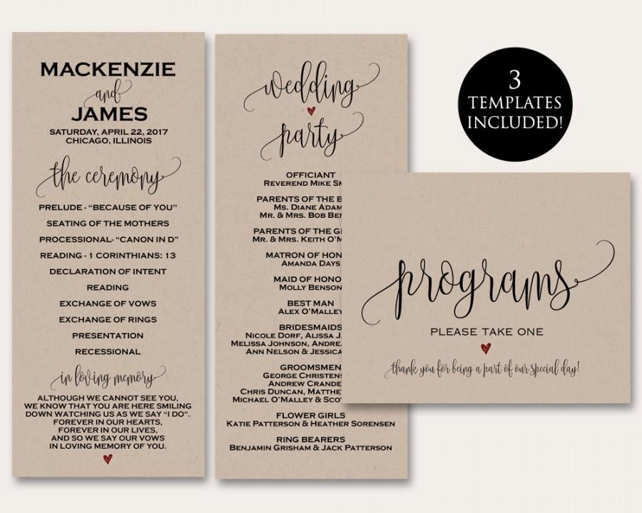 Ceremony Programs, Ceremony Program Template, Wedding Programs ...