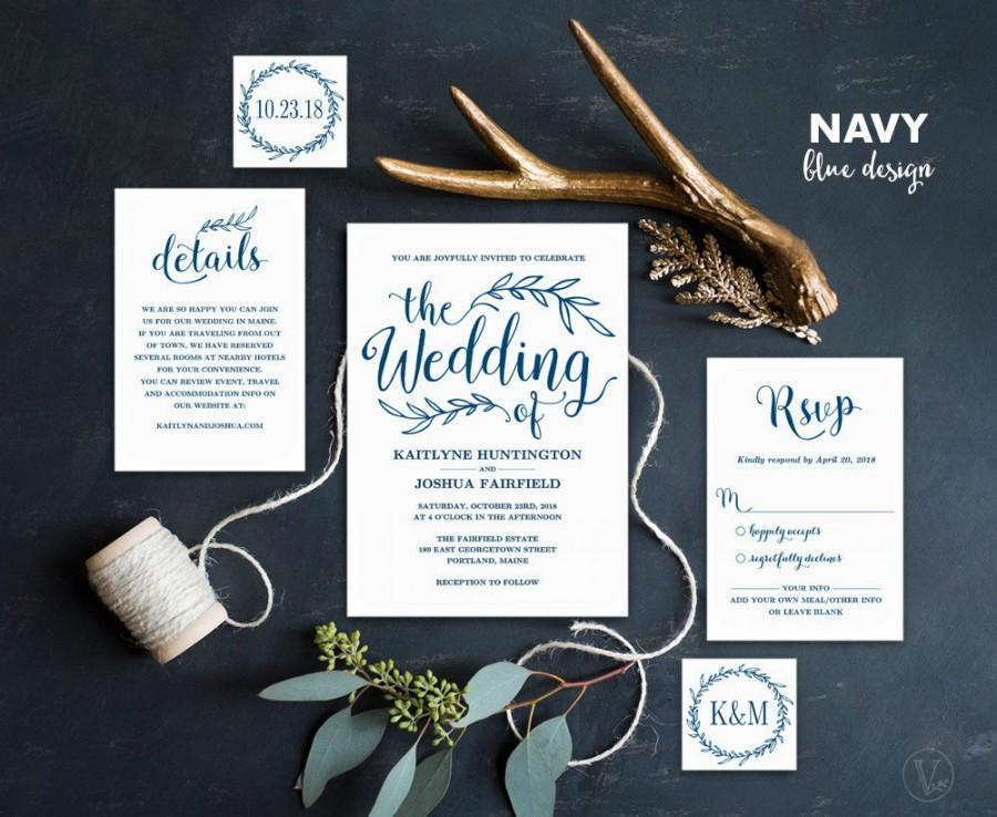 Wedding - Navy Blue Wedding Invitation, Printable Wedding Invitations, Rustic Wedding Invitation, 5-Piece Suite, Editable Text, VW00