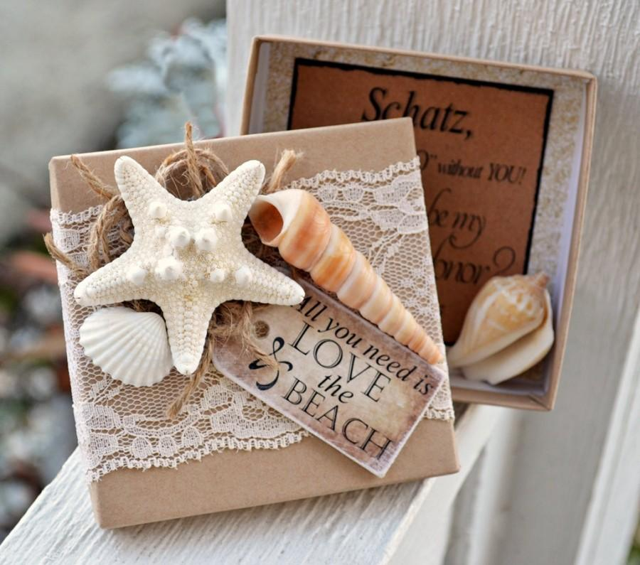 Wedding - Will You be My Bridesmaid Beach Theme Boxed Invite Starfish Box Invites Wedding Card Rustic Chic Vintage Propose Destination Wedding