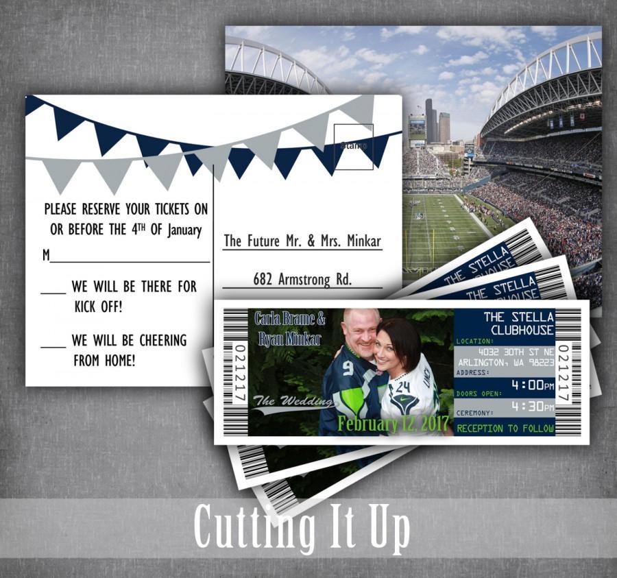 Mariage - Football Wedding Invitations, Football Ticket Invitation, Sports Wedding Invitations, Football, Seattle Seahawks, Philadelphia Eagles, NFL
