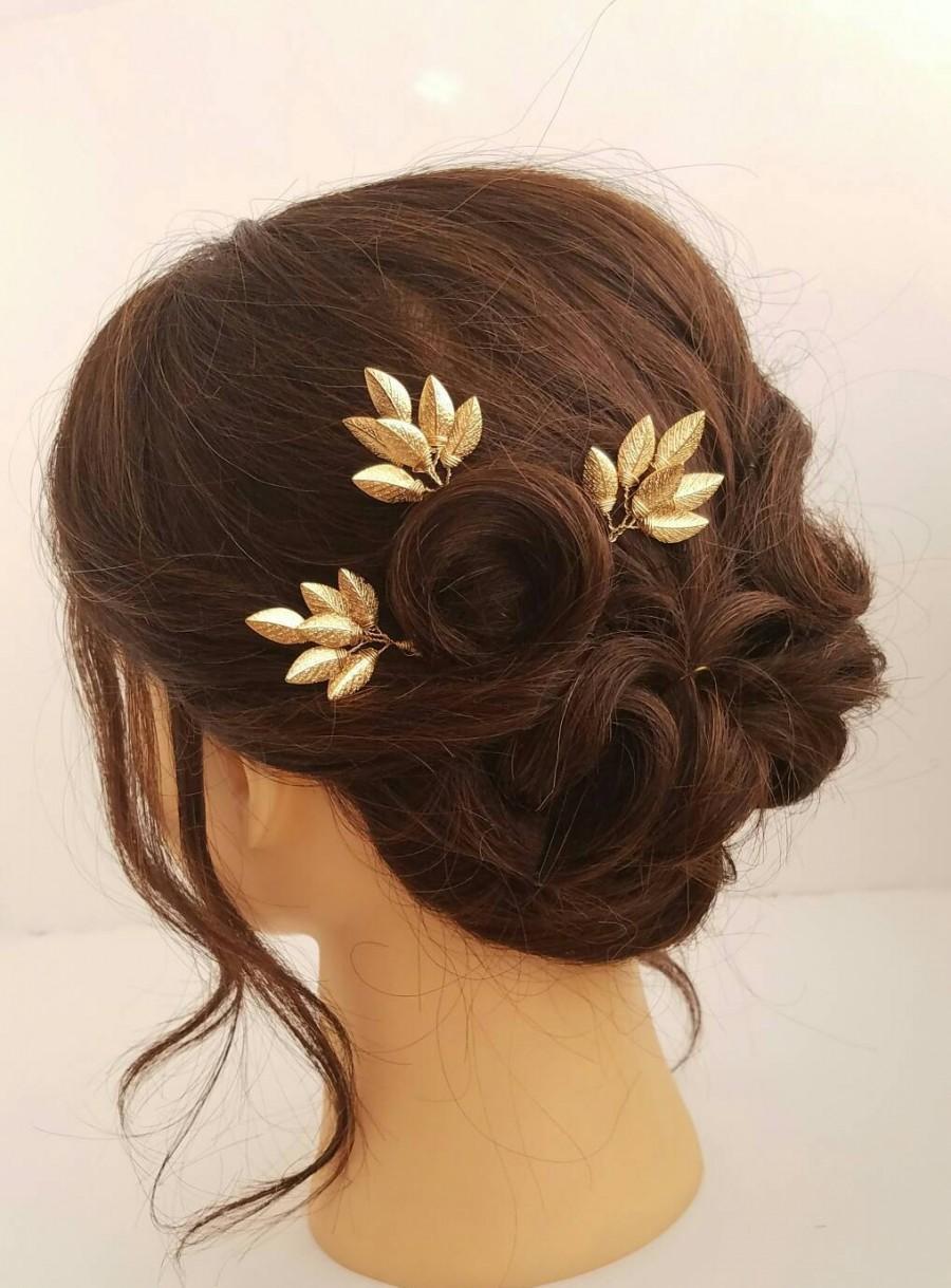 Mariage - Gold Leaf Hair Comb, Bridal Hair Vine, Leaf Hair Pins, Leaf Hair Clips, Gold Hair Pins, Wedding Hair Comb, Bridal Hair Pin, Hair Piece
