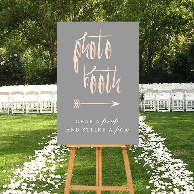 Photo Booth Sign, Rosegold DIGITAL Sign, Calligraphy