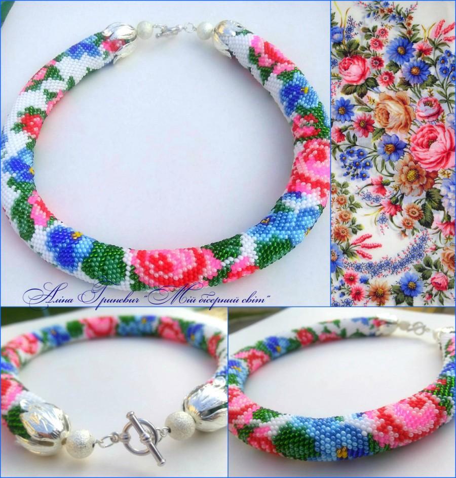 Свадьба - Beaded jewelry Beaded necklace Necklace beaded crochet Necklace of roses Floral necklace Crochet necklace Delicate necklace Beading For her