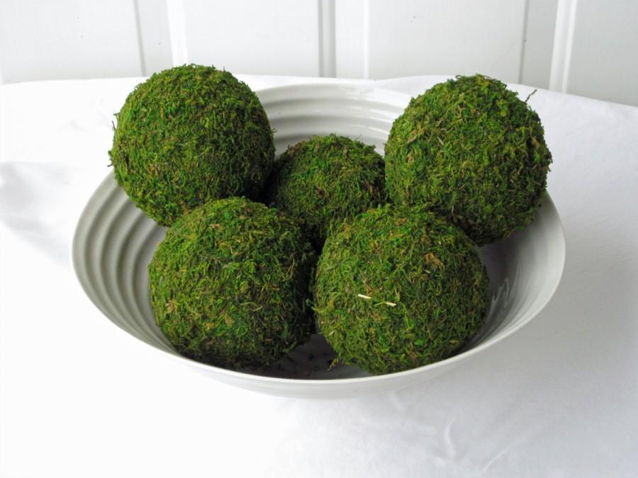 Свадьба - Moss Pomander Balls, Set of 5,  3 inch Moss Balls for Home or Wedding Decor