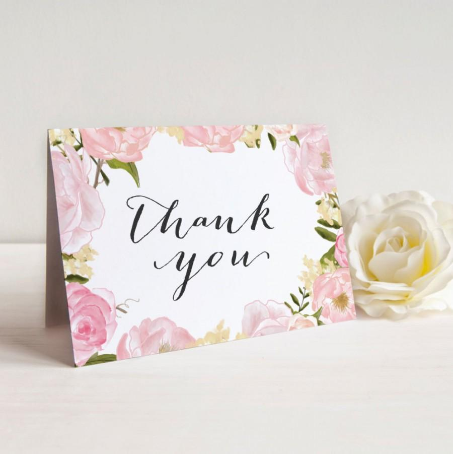 Printable Bridal Shower Thank You Cards Wedding Floral Instant Download A2 Folded