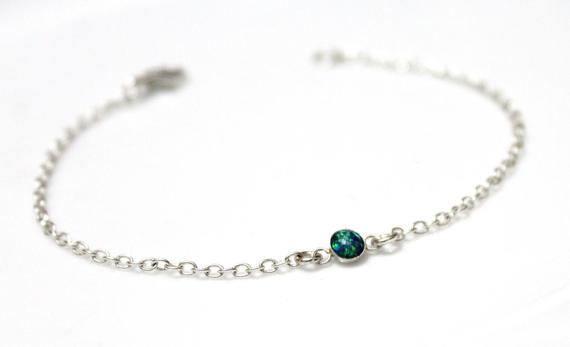 Dainty Emerald Green Opal Bracelet Sterling Silver Tiny Charm