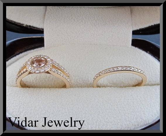 Hochzeit - Pink Morganite And Diamond Wedding Ring Set.Rose gold,Engagement Ring set,unique,custom,luxury,morganite engagement ring,Half Eternity