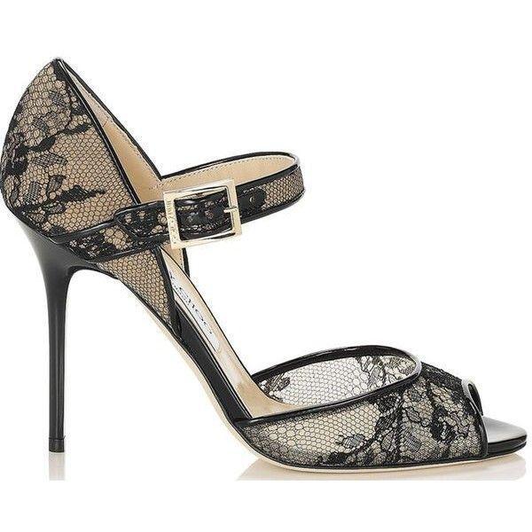 e847e2a7e75f Pre-Owned Nib Jimmy Choo Lace Mary Jane Peep Toe Pump Black Sz 38.5 Ankle  Strap Heels  750