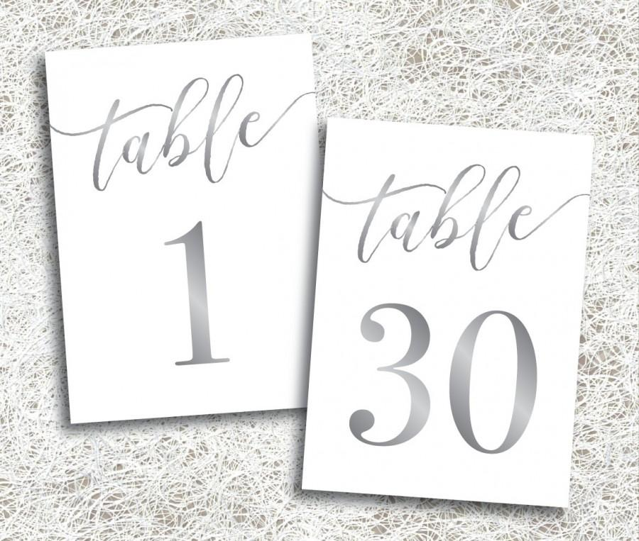 Printable Silver Table Numbers 1 30
