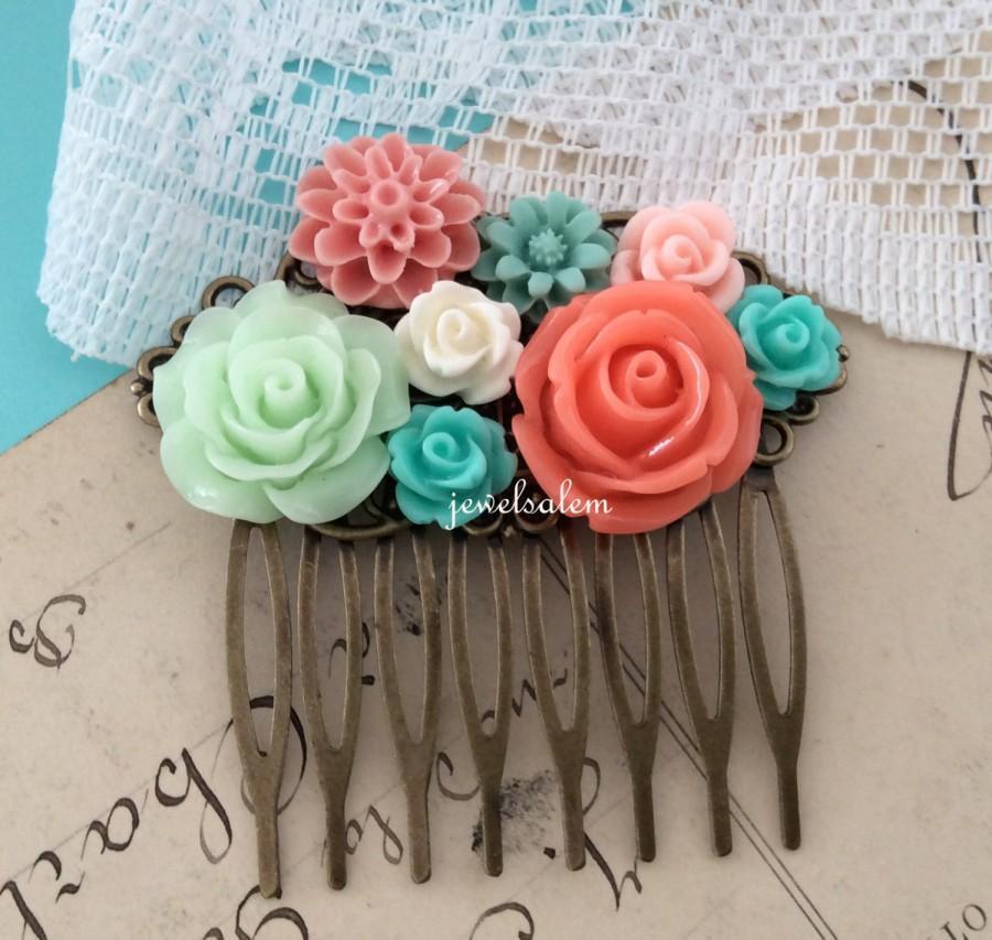 Свадьба - Mint Green Coral Wedding Hair Comb Teal Aqua Orange Peach Bridal Head Piece Hair Pin Flower Slide Gift Peach Orange Floral Hair Accessories