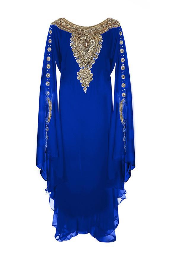 Mariage - Blue Gold Embellished Kaftan Dress - Jywal