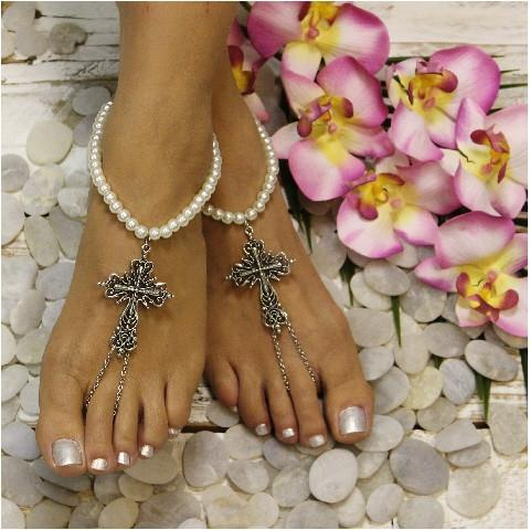 Mariage - FAITH pearl cross barefoot sandals