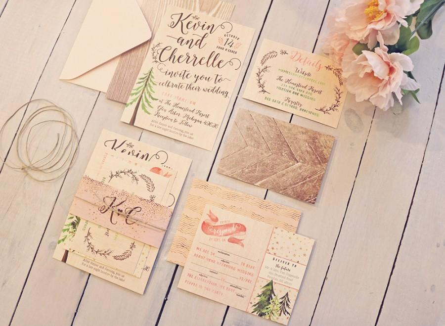 Rustic Glam Wedding Invitation Pink Gold Forest