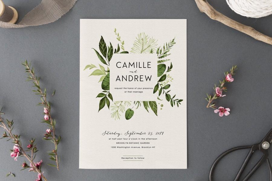 Wedding - Woodland Wedding Invitation Set,Printable Forest Wedding Suite,Nature Wedding,Outdoor Wedding Invites,Green Leaves,Garden Wedding, Light