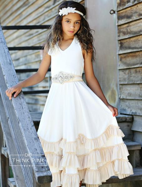 Beach Wedding Flower Girl Dress, Boho Flower Girl Dress, Ivory ...