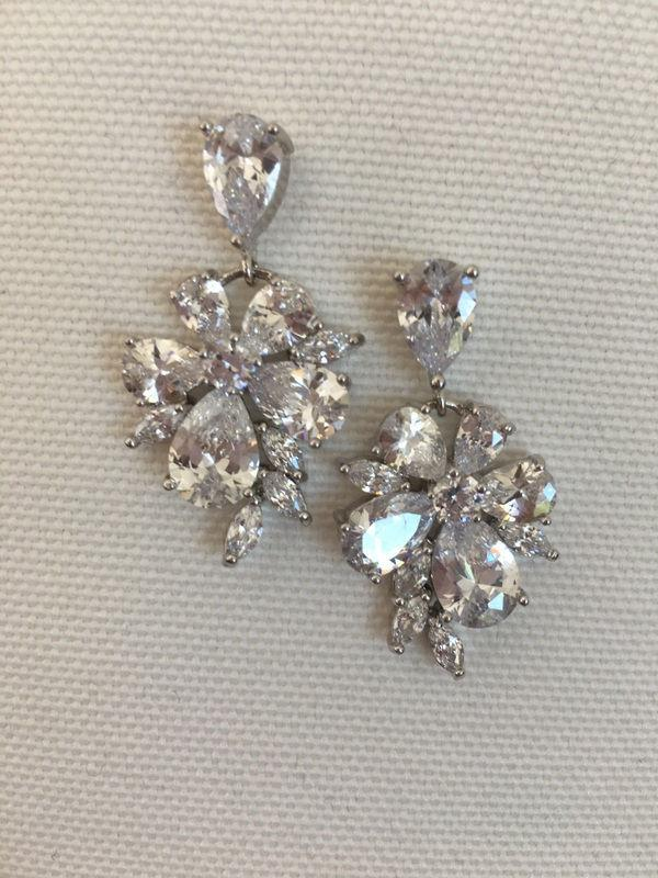 Cubic Zirconia Bridal Earrings Fl Wedding Bridesmaid Jewelry Crystal Teardrop 42 90 Usd