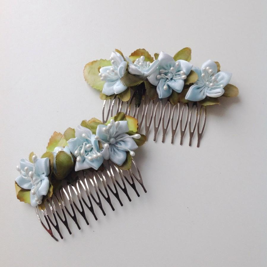 Bridal flower accessory blue hair flower wedding flower headpiece bridal flower accessory blue hair flower wedding flower headpiece bridal flower hair clip blue wedding hair clip set of 2 2400 usd izmirmasajfo