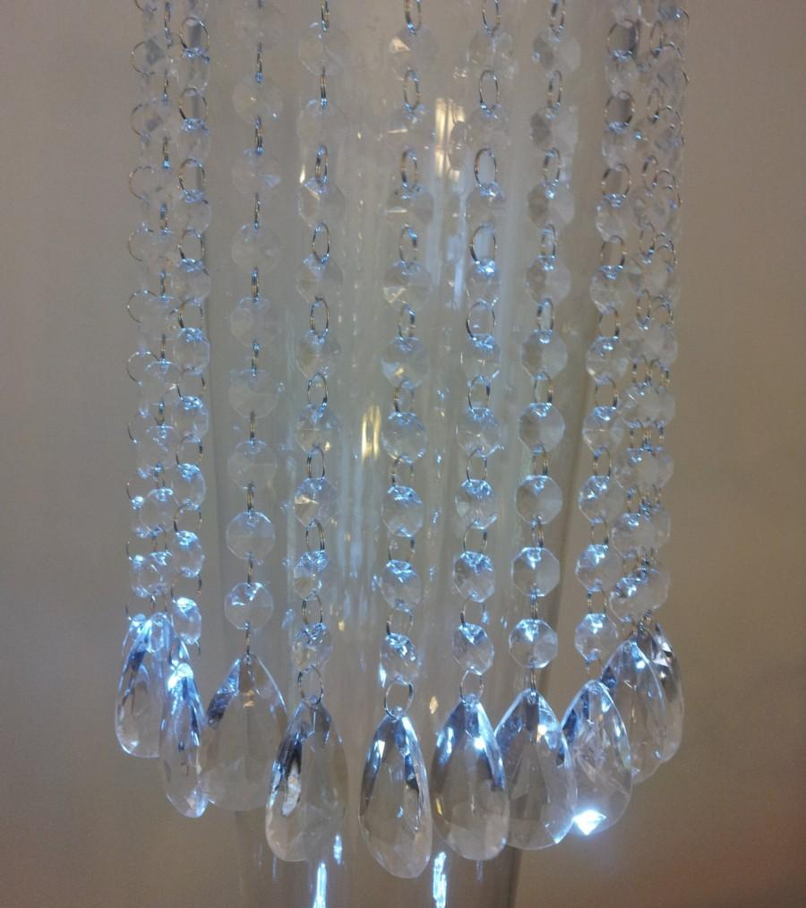 """Wedding - 12 Hanging Crystals - 14 Inch Long Crystal Garlands with Elegant 2"""" BRIOLETTE Pendants, With or Without 2"""" Swirly Hooks"""
