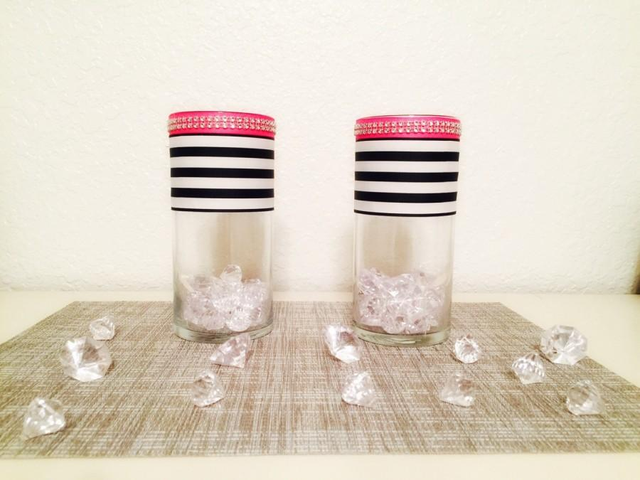 Kate Spade Inspired Glass Cylinder Vases Bling Vases Wedding