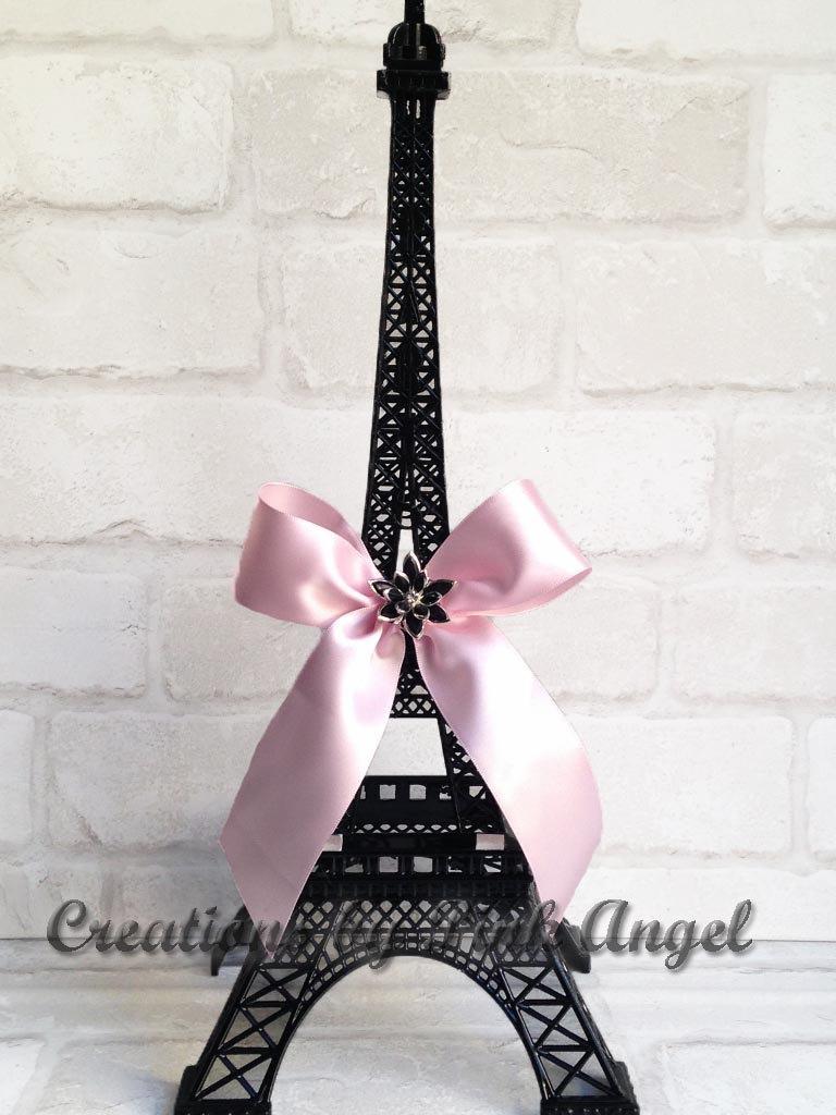 Mariage - 15 inch Black Eiffel Tower Centerpiece, Black and Pink Paris Centerpiece, Paris Wedding Bridal Shower or Baby Shower, 1 Tower included