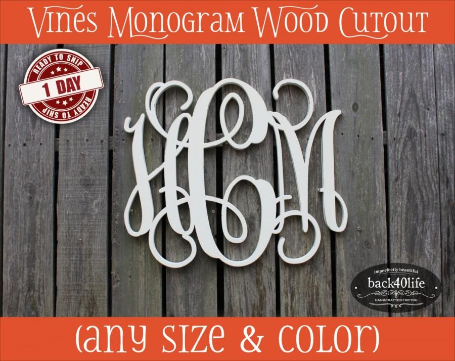Mariage - Vines Wood Monogram Initials cutout - wedding photo prop vintage shabby chic cottage decor DIY wooden cut out scrollwork