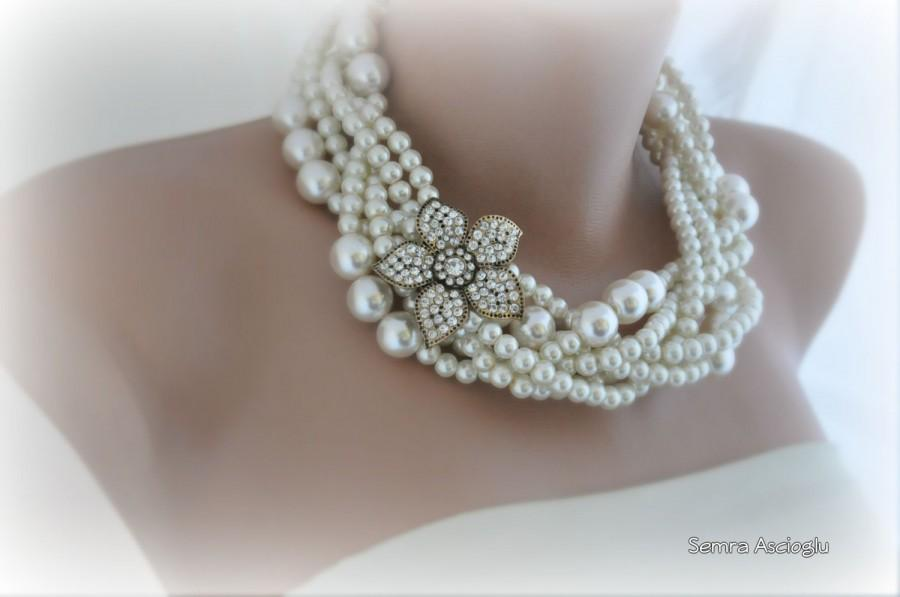Hochzeit - Wedding Pearl Necklace, Ivory Pearl Choker,Bold Ivory Glass Pearl Necklace, Flower Rhinestone Brooch, Brides Wedding Necklace,Braided Pearls