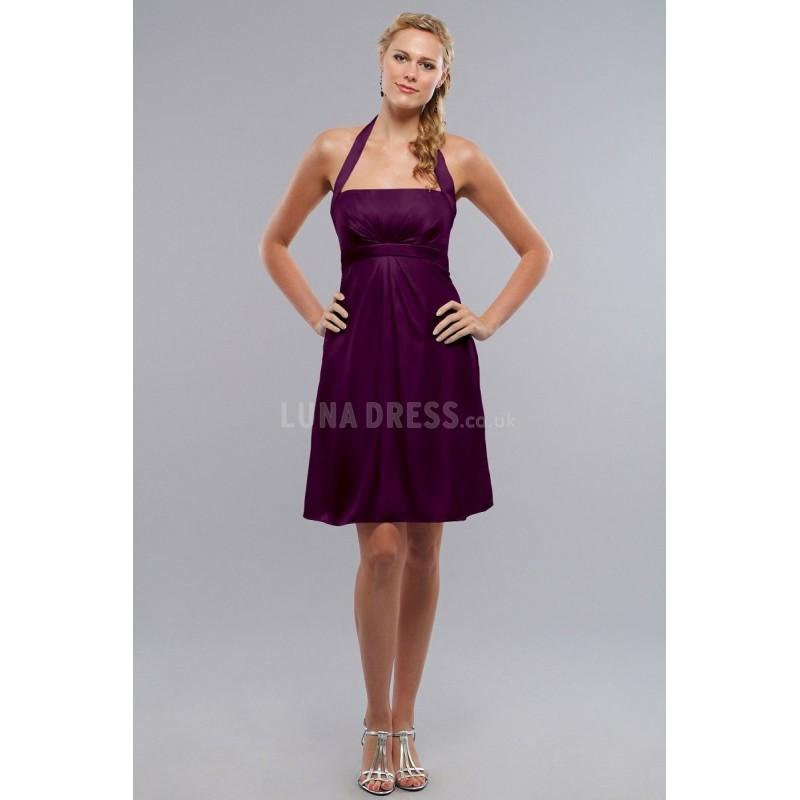 Wedding - Charmeuse A line Halter Knee Length Sleeveless Bridesmaids - Compelling Wedding Dresses