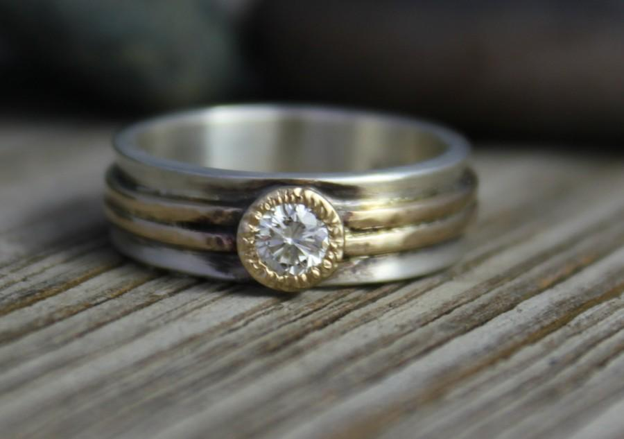 Mariage - Moissanite Sterling silver 14k yellow gold ring  diamond 6mm wide alternative unique ring Ready to ship size 7