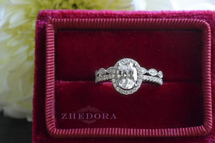 Wedding - 2.45 TCW Oval Engagement Bridal Set  With Art Deco Band In 14K / 18k White Gold, Bridal Set , Anniversary Set