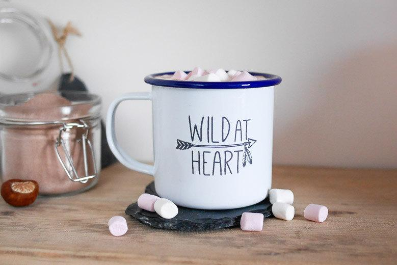 Свадьба - Wild at Heart Enamel Mug; camping, outdoors, adventure, wanderlust, vanlife, home, hot drink, gift ideas, drink, travel, mothers day, summer