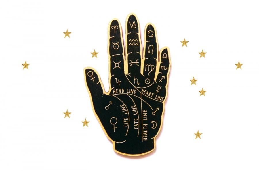 Mariage - Palm Reader Brooch. Fortune Teller. Palmistry Brooch. Hand. Occult. Witchcraft. Laser Cut Plastic Brooch. Esoteric.