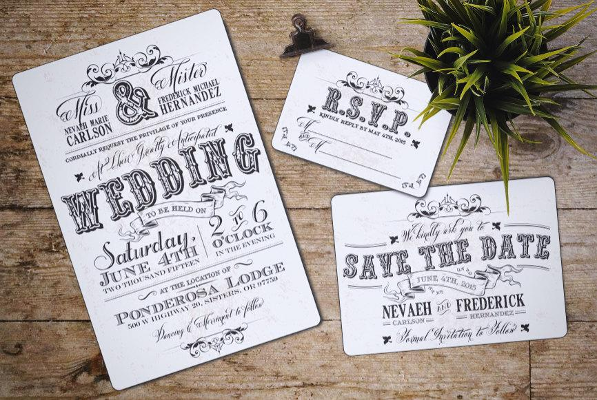 Mariage - Vintage Wedding Invitation Set, Rustic, western; Downloadable; Custom; PDF
