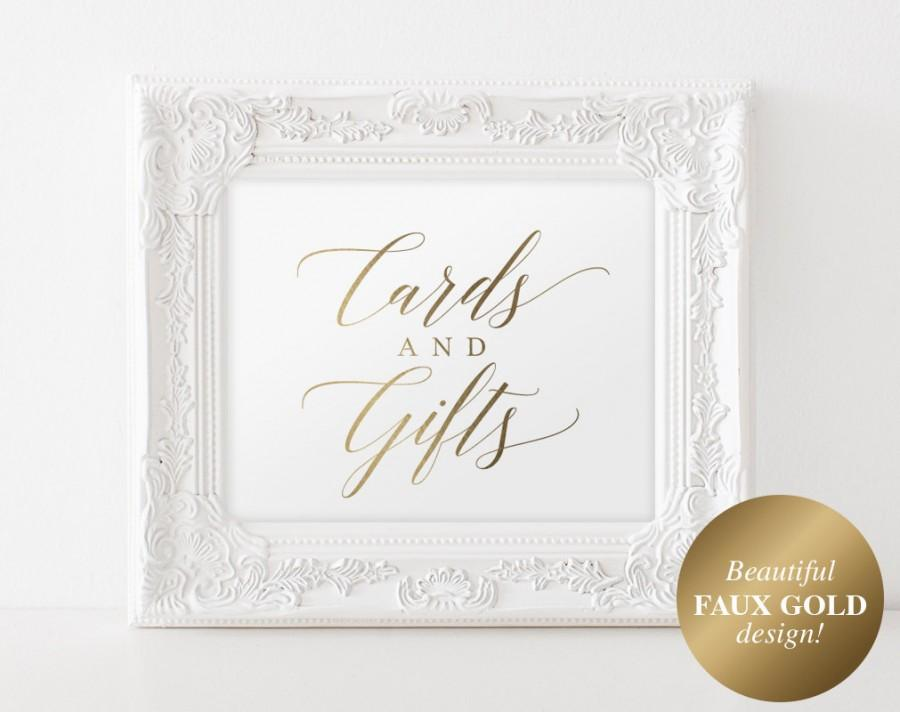 Mariage - Gold Cards and Gifts Sign, Cards and Gifts Printable, Wedding Sign, Wedding Printable, Gold Wedding, PDF Instant Download #BPB324_40