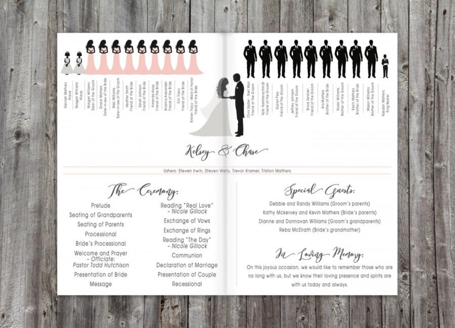 Wedding Programs Silhouette Program Order Of Ceremony Printable