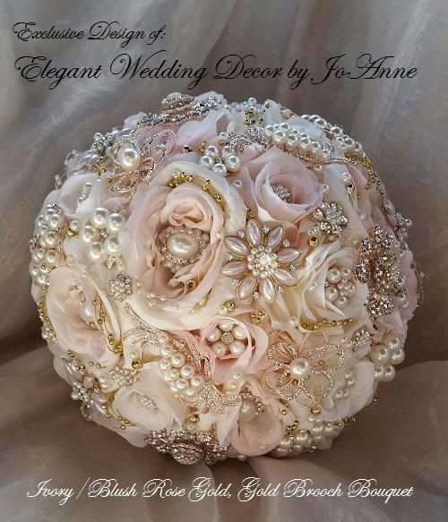 Mariage - ROSE GOLD Brooch Bouquet, Brooch Bouquet, Custom Brides Bouquet, Pink and Gold Brooch, Gold Jeweled Wedding Bouquet, DEPOSIT Only