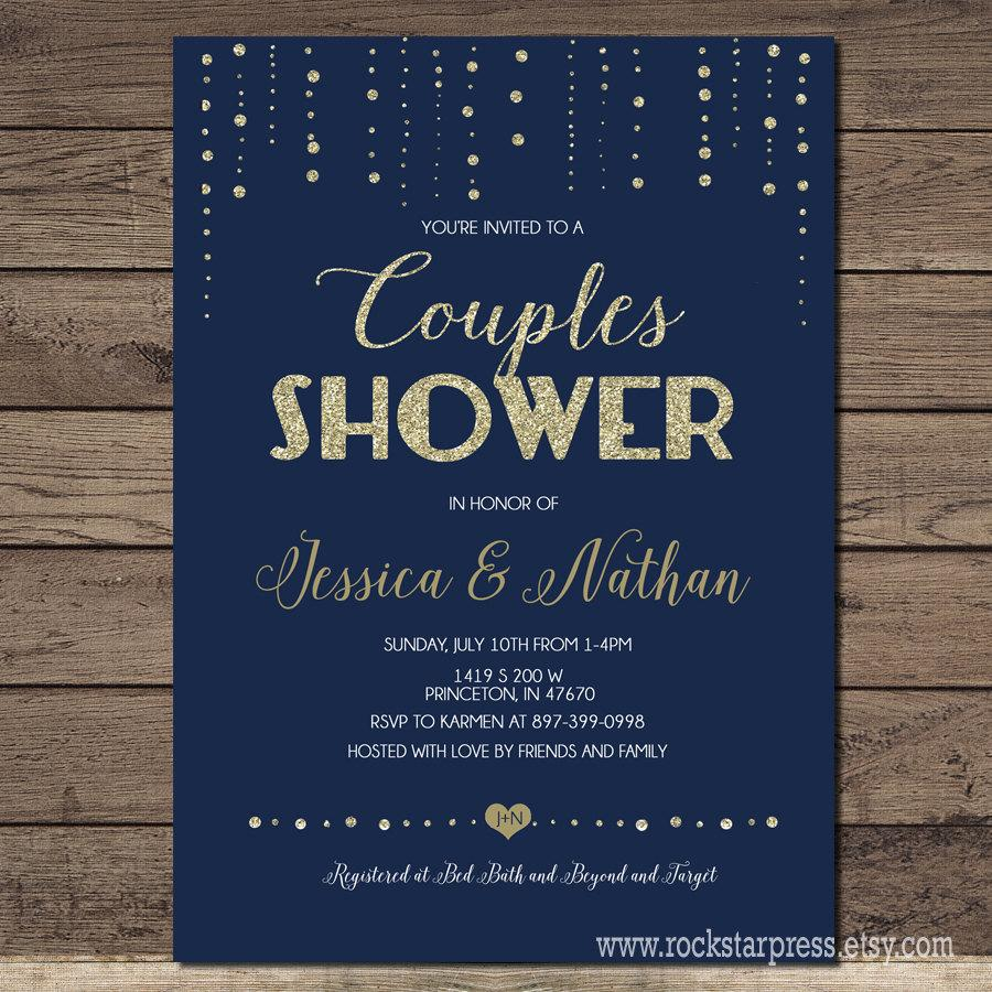 Mariage - Couples Wedding Shower invitation Navy and gold, printable, modern chic shower, digital invite customizable _1229couples