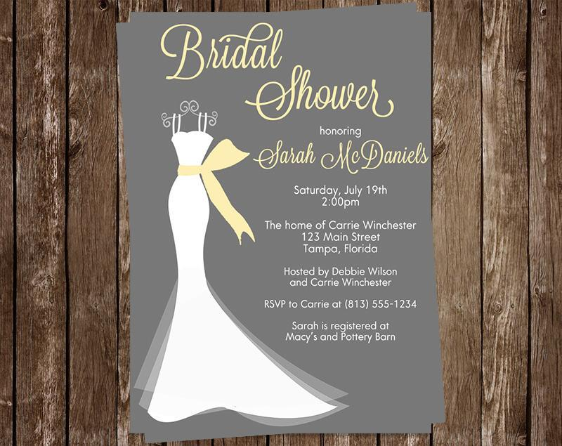 bridal shower invitations wedding dress yellow gray white gown set of 10 printed cards free shipping elggr elegant gown gray yellow