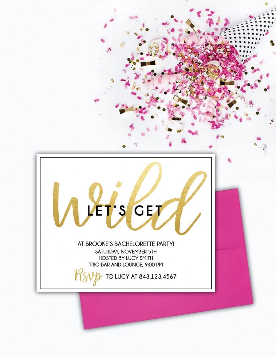 زفاف - Let's Get Wild- Bachelorette Party Invitation (Set of 10)