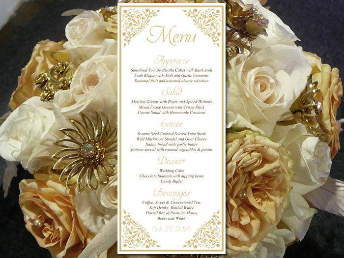 "Hochzeit - Printable Wedding Menu Template - Entree Card Gold Menu Card Wedding Reception Menu ""Madison"" Tea Length Menu Printable - DIY Menu Template"