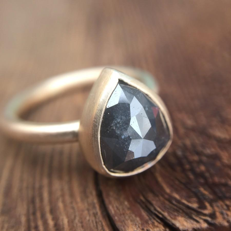 Mariage - Huge! 3.05 Ct Natural Gray Rose Cut Pear Diamond Ring 14K Yellow Gold Bezel Setting Boho Rustic Engagement Ring Alternative Bridal Modern