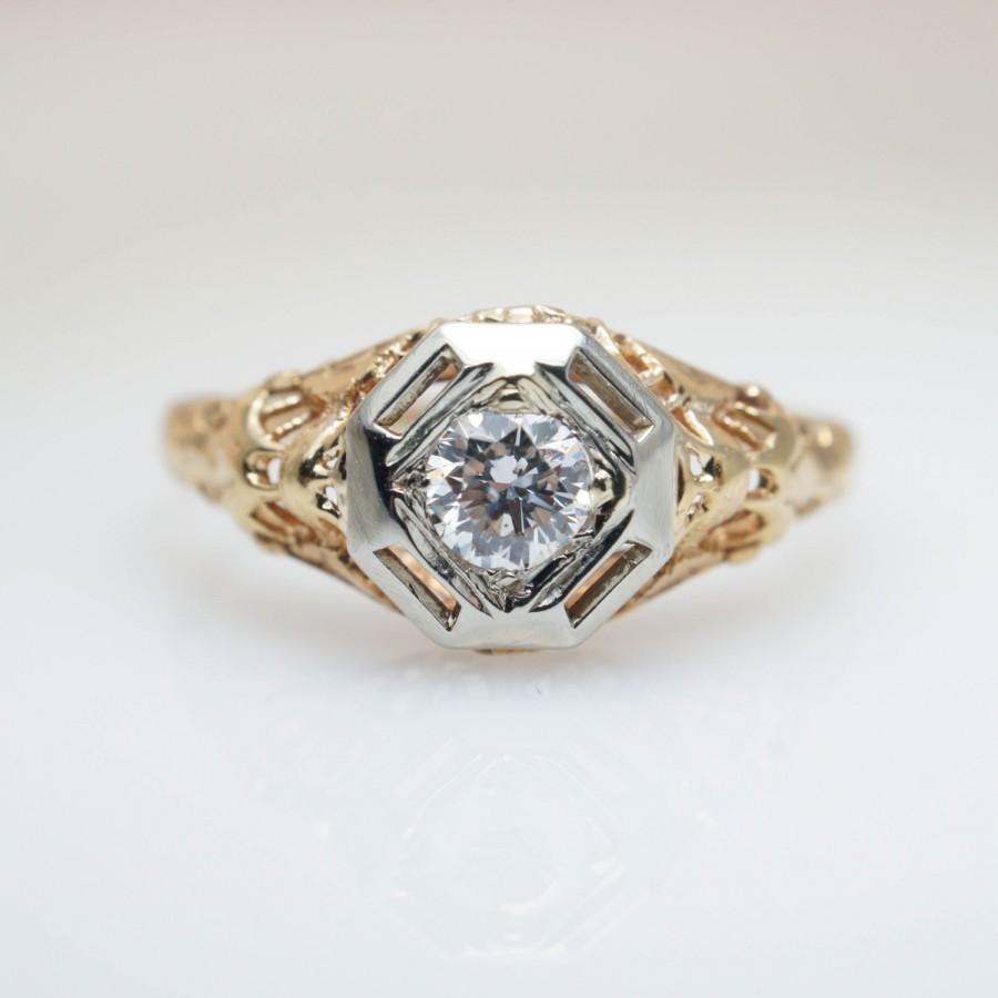 Wedding - Intricate Vintage Diamond Engagement Ring Art Deco Unique Engagement Ring Vintage Engagement Art Deco Ring 1920s Ring Filigree Engagement