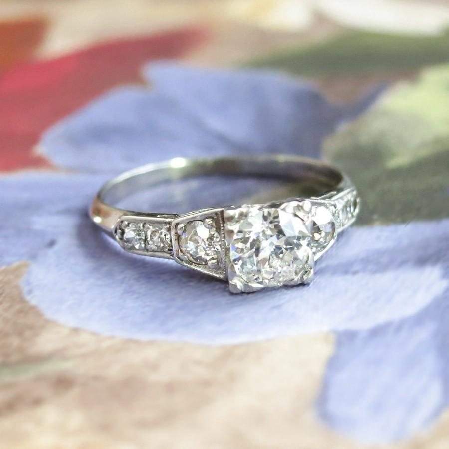 Mariage - Art Deco Engagement Ring Vintage 1930's Old European Cut Diamond Engagement Wedding Anniversary Ring Platinum