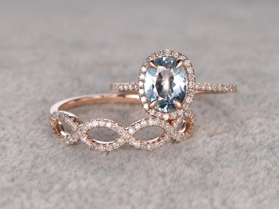 زفاف - 2pcs Aquamarine Bridal Set,Engagement ring Rose gold,Curved loop Diamond wedding band,6x8mm Oval Blue Gemstone Promise Ring,Matching Band