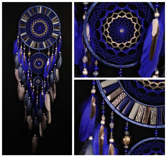 Hochzeit - Blue Dream Catcher Large Dreamcatcher Gray Dream сatcher gift idea dreamcatcher boho dreamcatcher wall handmade gift silver Dreamcatchers