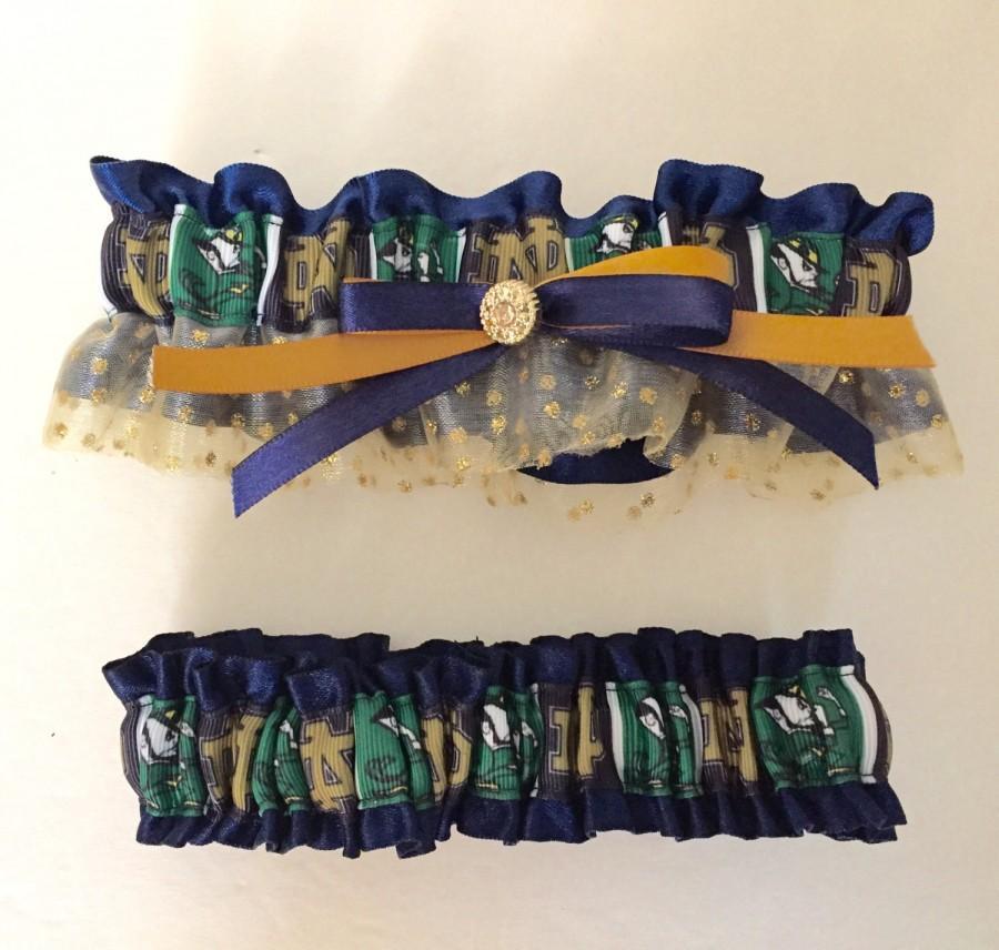زفاف - Wedding Garter Notre Dame Inspired College Team Theme