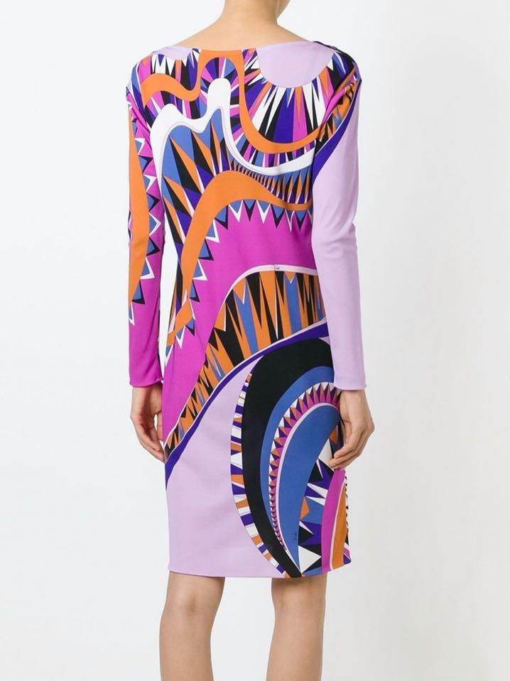 Wedding - Emilio Pucci Multi Print Long-Sleeve Mini Dress Purple