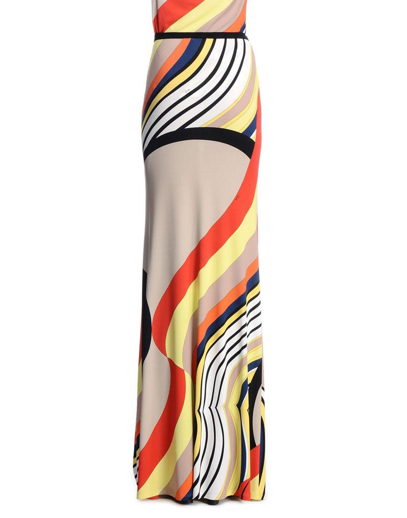 Wedding - Emilio Pucci Onyx Print Maxi Dress Beige & Coral