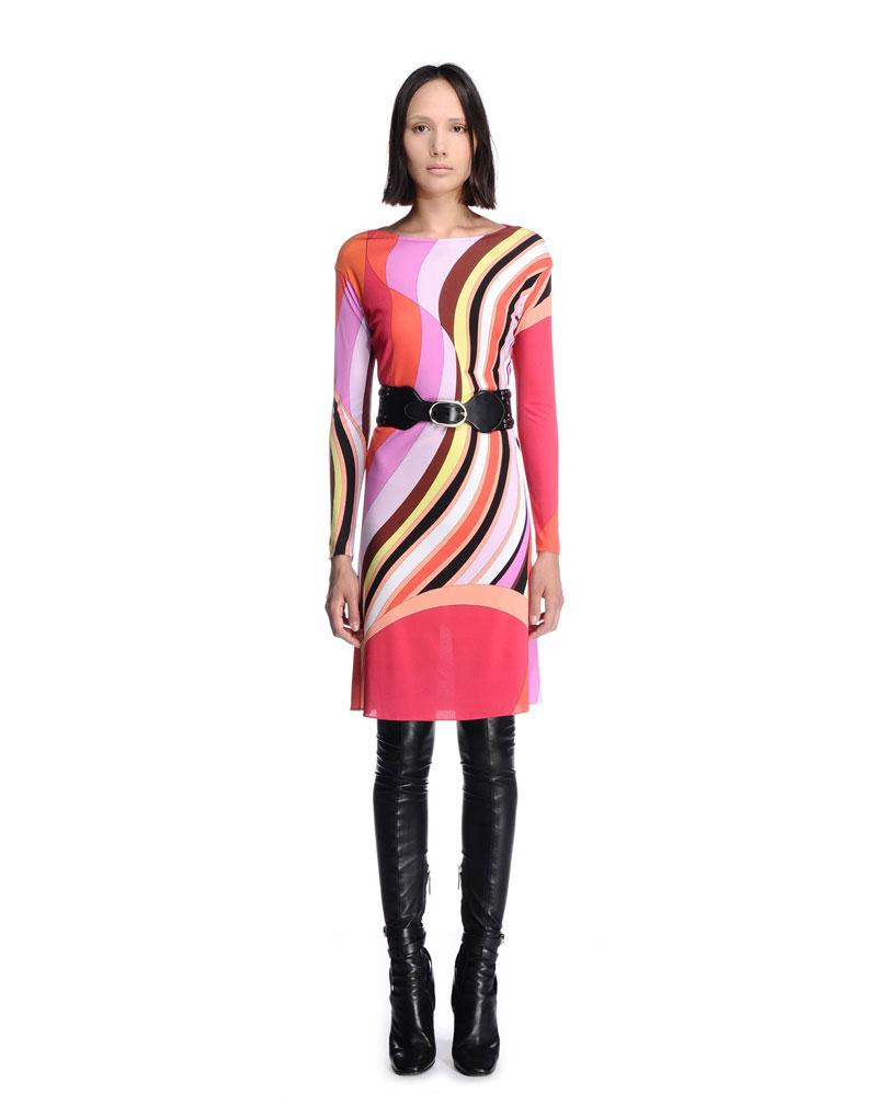 زفاف - Emilio Pucci Stripe Printed Red Multicolor Short Dress