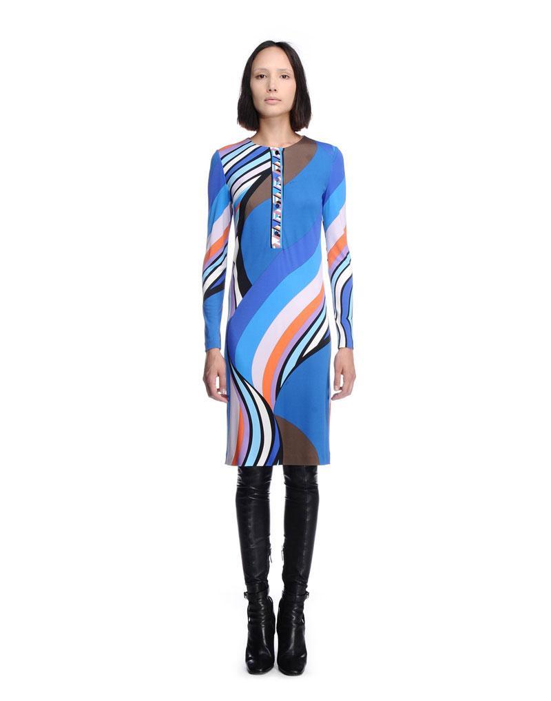 Wedding - Emilio Pucci Blue Onyx Print Long Sleeve Short Dress